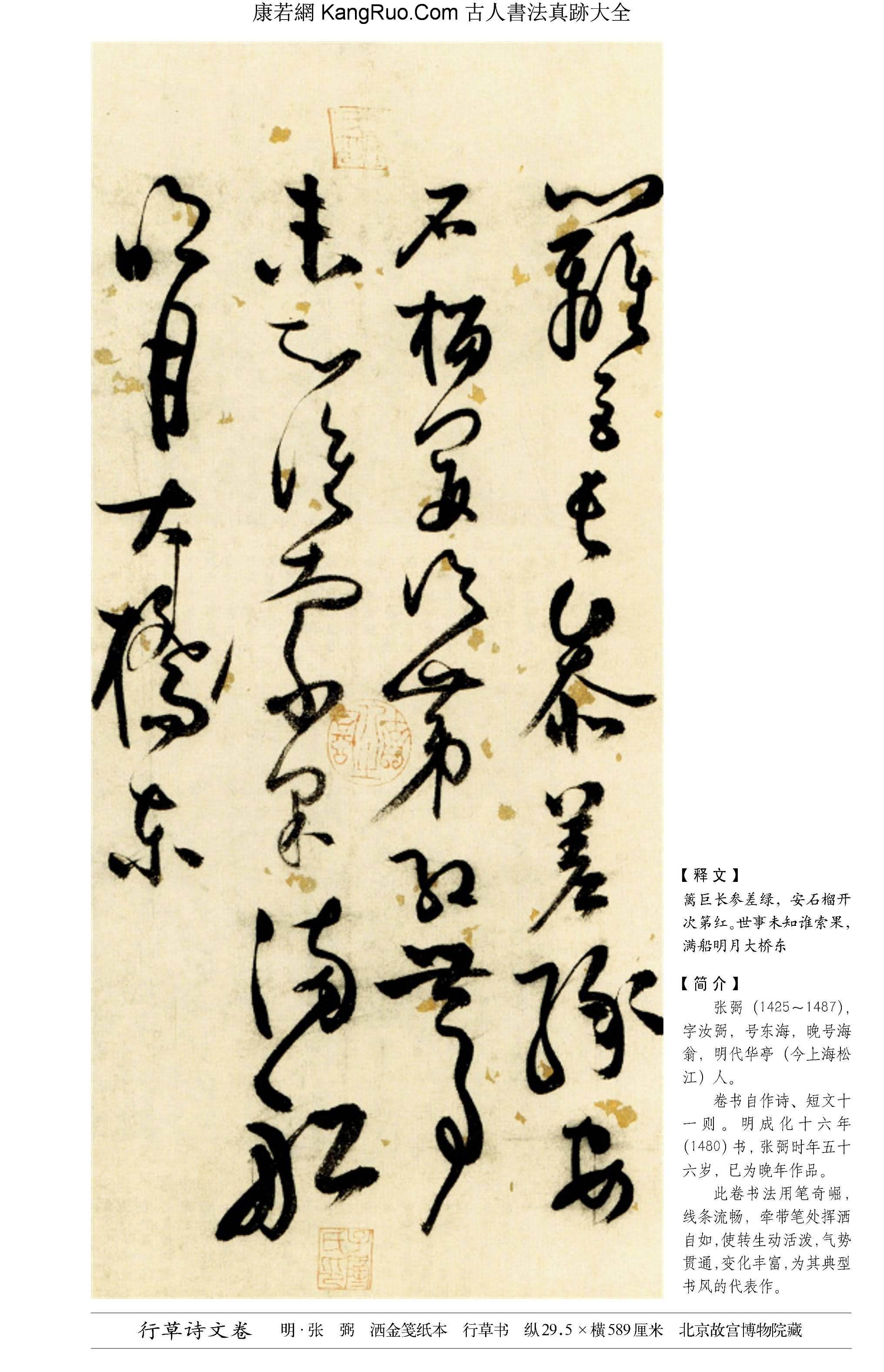 《行草詩文卷》書法真跡【明朝·張弼】_00177